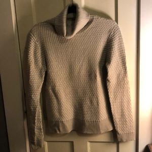 Gray Turtleneck Ribbed Sweater